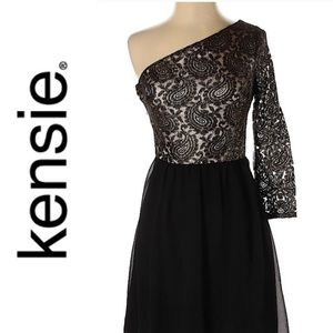 Kensie Women's One Shoulder Paisley Mini Dress